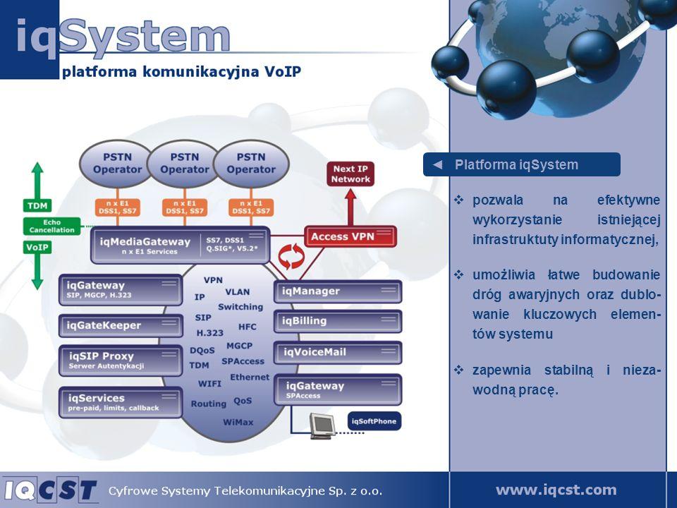 Platforma iqSystem od strony publicznej sieci telekomunikacyjnej posiada interfejsy E1 z sygnalizacją DSS1 oraz SS7, od strony sieci informatycz- nych wspiera standardy SIP, H.323, MGCP, umożliwia zastosowanie róż- nych sygnalizacji w ramach jednorodnej sieci informa- tycznej.