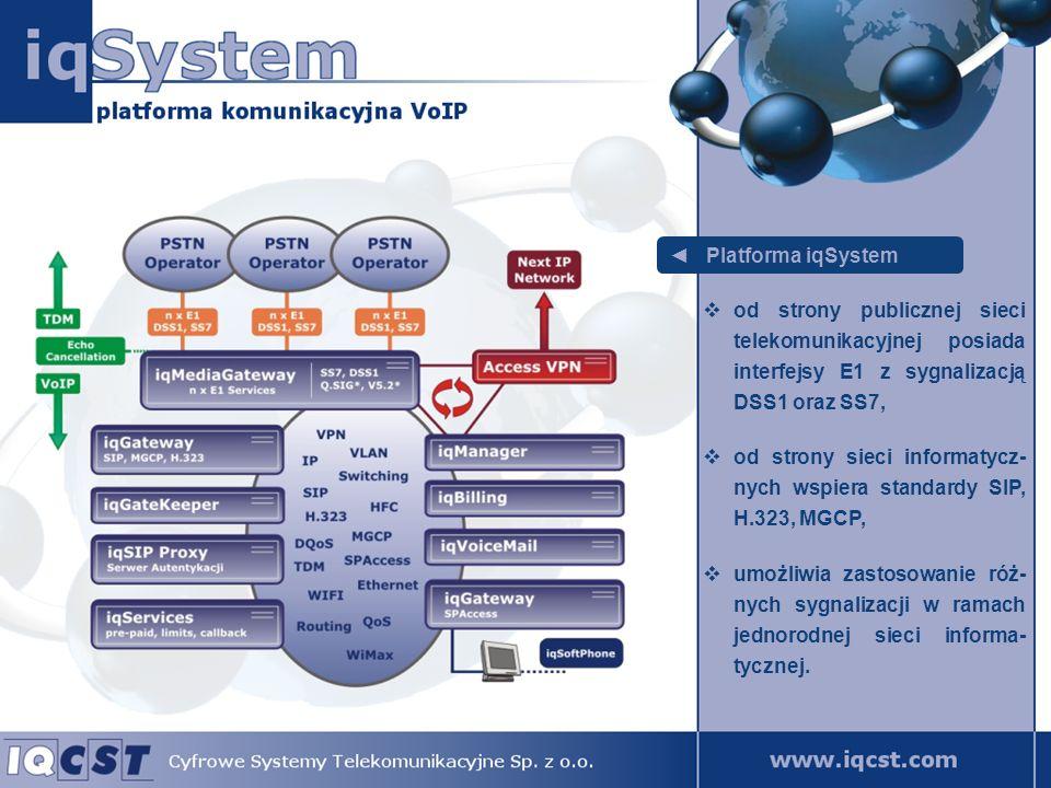 Platforma iqSystem zarządzanie systemem z wykorzystaniem technologii internetowych połączonych z systemami bazodanowymi, zdalny i nieograniczony geograficznie dostęp, bezpieczny dostęp dla uprawnionych administra- torów, bez konieczności budowania dedykowanych stanowisk zarządzania.