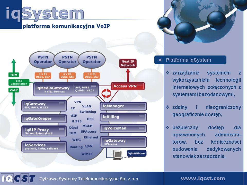 Platforma iqSystem implementacja usług i stan- dardów zgodnych z wymaga- niami polskiego i europejskie- go rynku telekomunikacyj- nego, możliwość obsługi różnorod- nych terminali końcowych z zachowaniem jednorodnych dla klienta usług – bez względu na użytą sygnali- zację: SIP, H.323 czy MGCP.