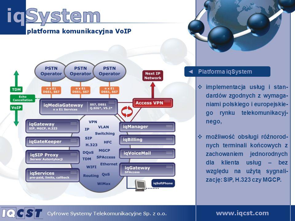 iqMediaGateway główny węzeł komunikacyjny platformy iqSystem, pozwala na obsługę traktów E1 z sygnalizacją DSS1 lub SS7 do publicznej sieci telekomunikacyjnej oraz na komunikację z pozostałymi elementami systemu, odpowiada za generację zdarzeń billingowych.
