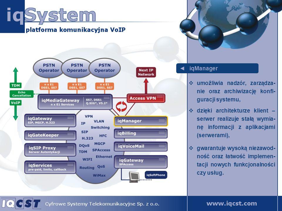 iqGateway odpowiada za obsługę abonentów systemu, jego podstawowym zadaniem jest obsługa technologii SIP, H.323, MGCP lub SPAccess, obsługuje kodeki głosu G.711, G.723, G.729, GSM, iLBC.