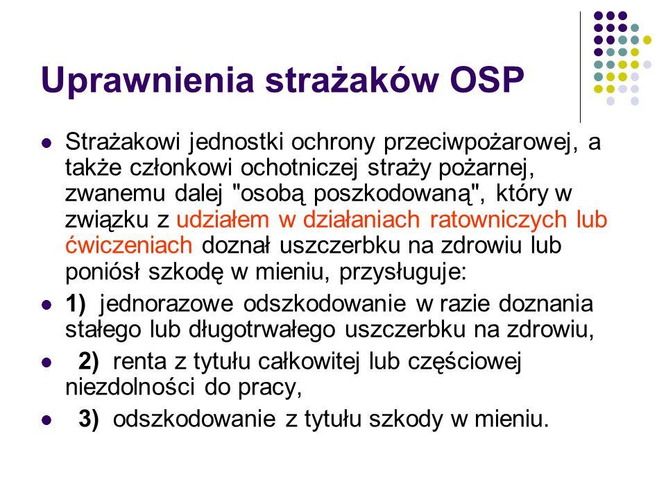 Uprawnienia strażaków OSP Strażakowi jednostki ochrony przeciwpożarowej, a także członkowi ochotniczej straży pożarnej, zwanemu dalej