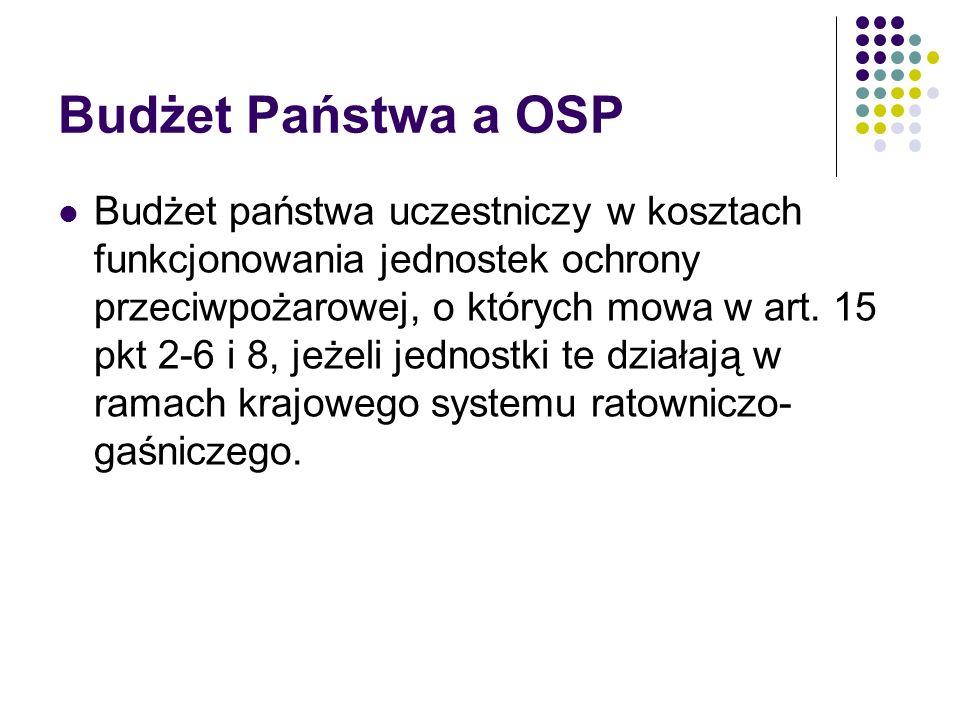 Budżet Państwa a OSP Budżet państwa uczestniczy w kosztach funkcjonowania jednostek ochrony przeciwpożarowej, o których mowa w art. 15 pkt 2-6 i 8, je