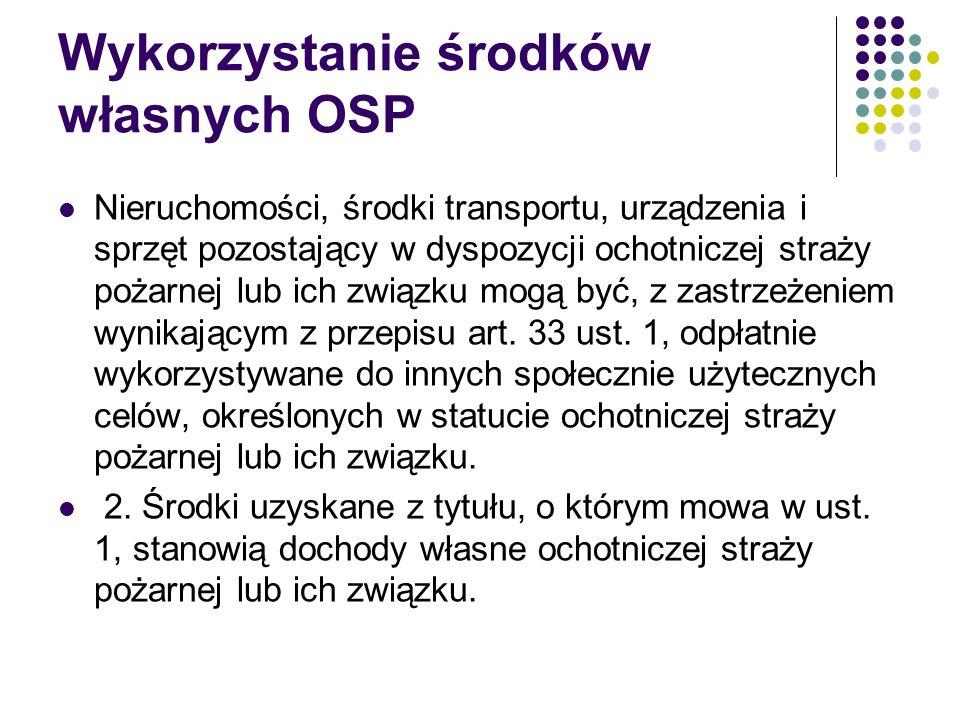 Wykorzystanie środków własnych OSP Nieruchomości, środki transportu, urządzenia i sprzęt pozostający w dyspozycji ochotniczej straży pożarnej lub ich