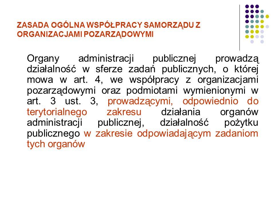 ZASADA OGÓLNA WSPÓŁPRACY SAMORZĄDU Z ORGANIZACJAMI POZARZĄDOWYMI Organy administracji publicznej prowadzą działalność w sferze zadań publicznych, o kt