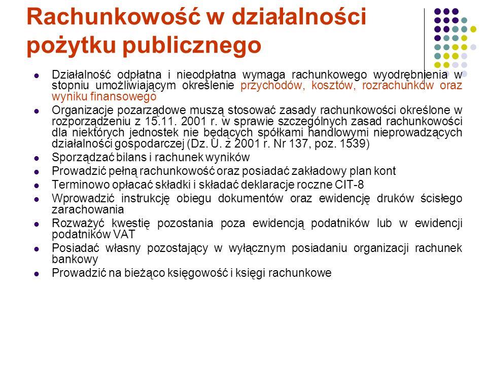 Rachunkowość w działalności pożytku publicznego Działalność odpłatna i nieodpłatna wymaga rachunkowego wyodrębnienia w stopniu umożliwiającym określen