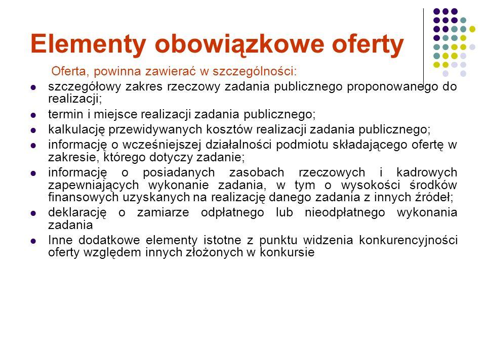 Elementy obowiązkowe oferty Oferta, powinna zawierać w szczególności: szczegółowy zakres rzeczowy zadania publicznego proponowanego do realizacji; ter