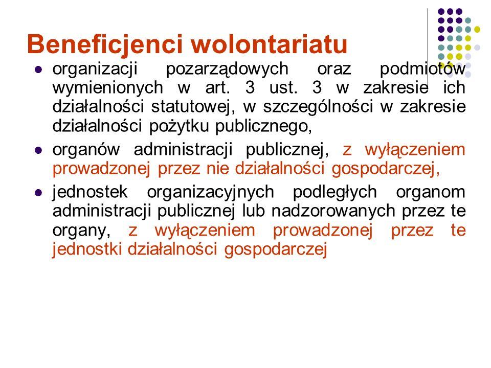 Beneficjenci wolontariatu organizacji pozarządowych oraz podmiotów wymienionych w art. 3 ust. 3 w zakresie ich działalności statutowej, w szczególnośc