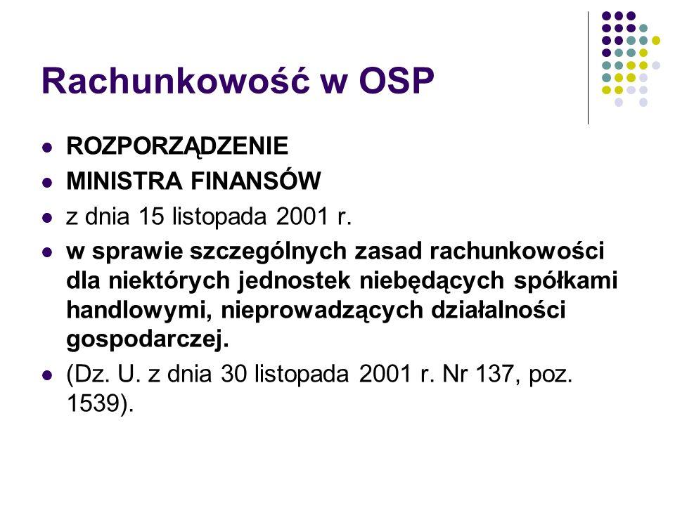 Rachunkowość w OSP ROZPORZĄDZENIE MINISTRA FINANSÓW z dnia 15 listopada 2001 r. w sprawie szczególnych zasad rachunkowości dla niektórych jednostek ni