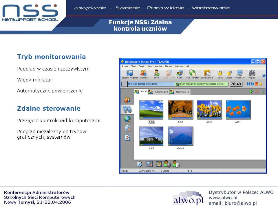 Funkcje NSS: Zdalna kontrola uczniów Tryb monitorowania Podgląd w czasie rzeczywistym Widok miniatur Automatyczne powiększenie Zdalne sterowanie Przejęcie kontroli nad komputerami Podgląd niezależny od trybów graficznych, systemów