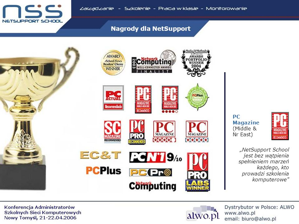 PC Magazine (Middle & Nr East) NetSupport School jest bez wątpienia spełnieniem marzeń każdego, kto prowadzi szkolenia komputerowe Nagrody dla NetSupport