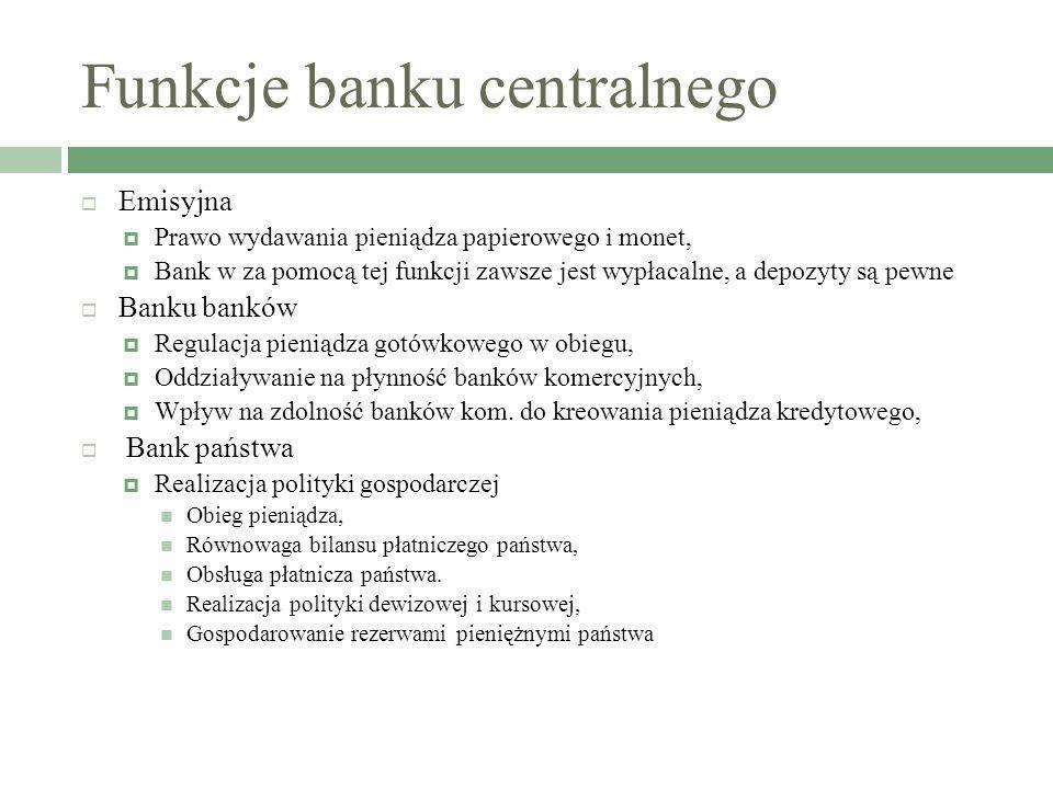 Funkcje banku centralnego Emisyjna Prawo wydawania pieniądza papierowego i monet, Bank w za pomocą tej funkcji zawsze jest wypłacalne, a depozyty są p