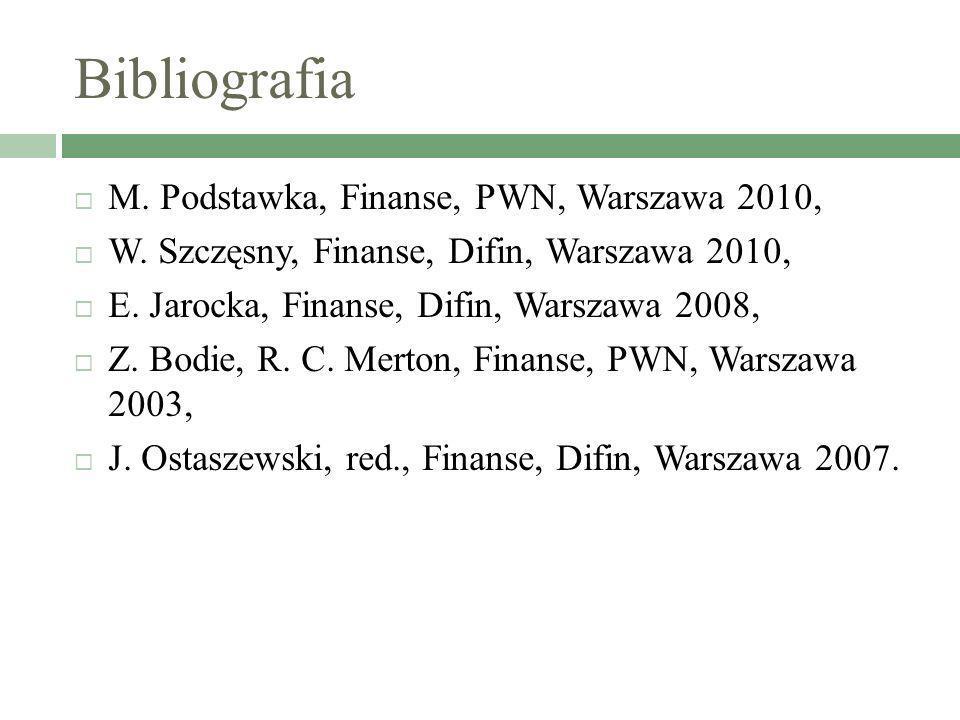 Bibliografia M. Podstawka, Finanse, PWN, Warszawa 2010, W. Szczęsny, Finanse, Difin, Warszawa 2010, E. Jarocka, Finanse, Difin, Warszawa 2008, Z. Bodi