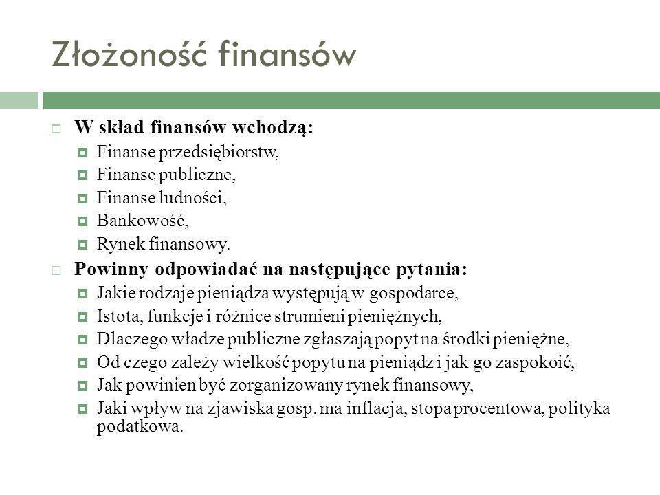 Złożoność finansów W skład finansów wchodzą: Finanse przedsiębiorstw, Finanse publiczne, Finanse ludności, Bankowość, Rynek finansowy. Powinny odpowia