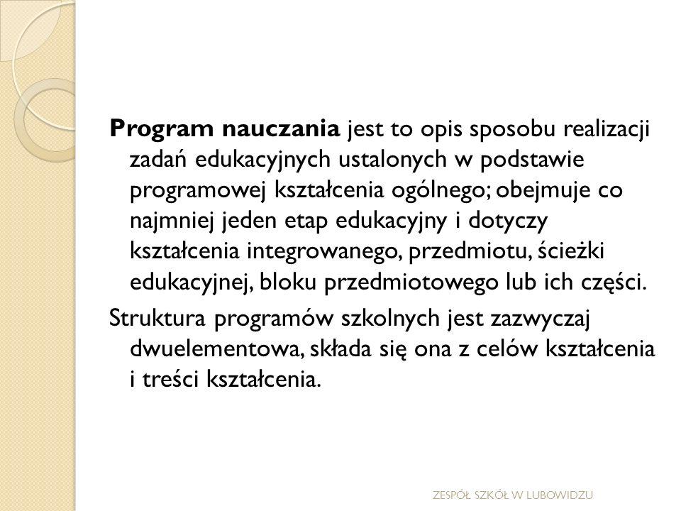 Treści kształcenia są dość jednolicie i podobnie formułowane przez większość autorów programów w postaci tzw.