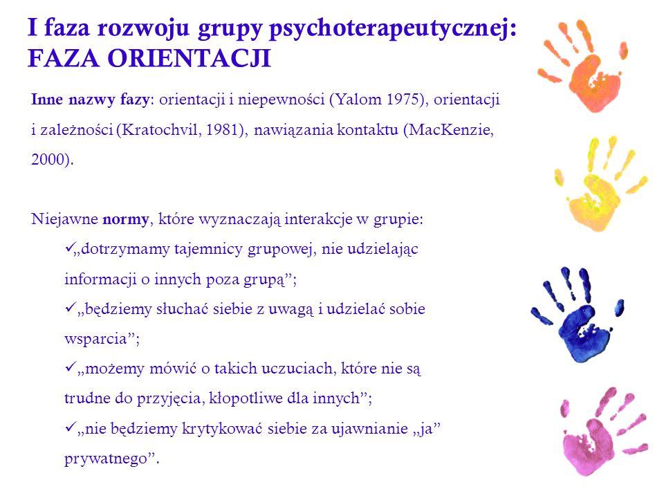 I faza rozwoju grupy psychoterapeutycznej: FAZA ORIENTACJI Inne nazwy fazy : orientacji i niepewno ś ci (Yalom 1975), orientacji i zale ż no ś ci (Kra