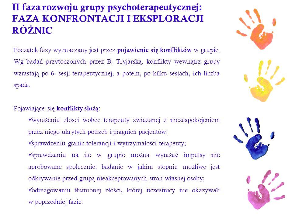 II faza rozwoju grupy psychoterapeutycznej: FAZA KONFRONTACJI I EKSPLORACJI RÓ Ż NIC Pocz ą tek fazy wyznaczany jest przez pojawienie si ę konfliktów