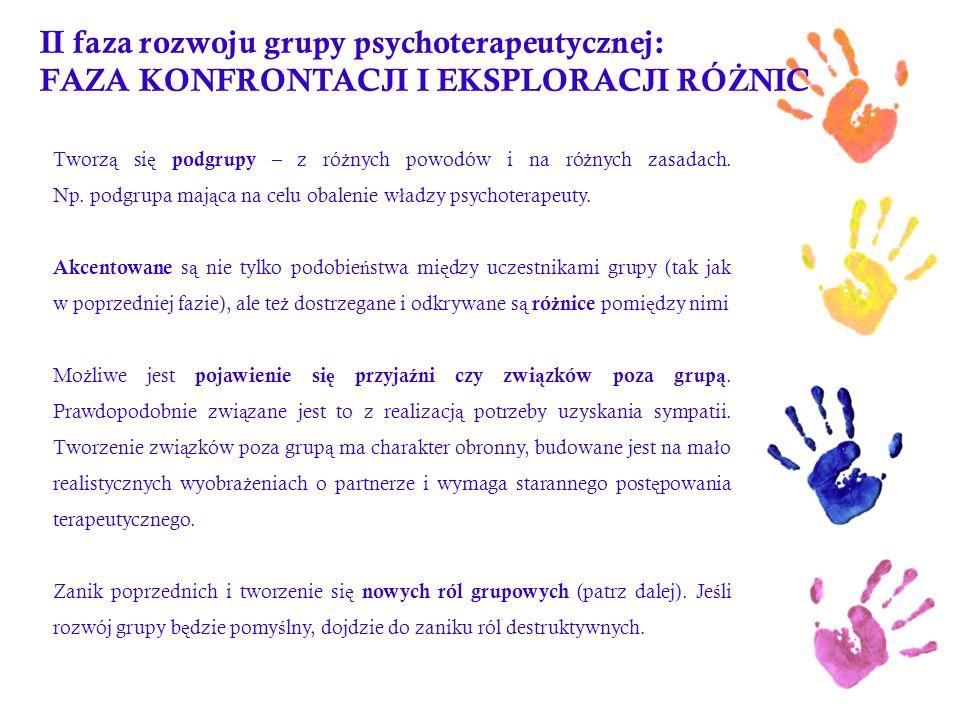 II faza rozwoju grupy psychoterapeutycznej: FAZA KONFRONTACJI I EKSPLORACJI RÓ Ż NIC Tworz ą si ę podgrupy – z ró ż nych powodów i na ró ż nych zasada