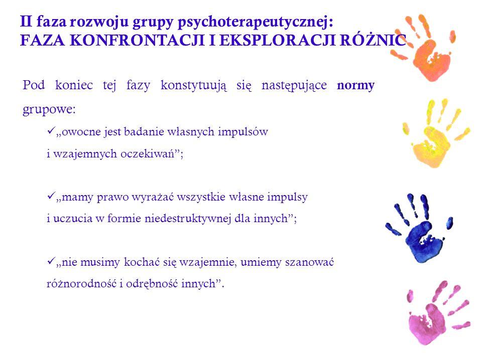 II faza rozwoju grupy psychoterapeutycznej: FAZA KONFRONTACJI I EKSPLORACJI RÓ Ż NIC Pod koniec tej fazy konstytuuj ą si ę nast ę puj ą ce normy grupo
