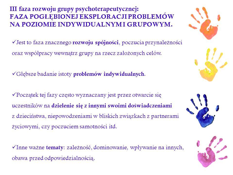 III faza rozwoju grupy psychoterapeutycznej: FAZA POG ŁĘ BIONEJ EKSPLORACJI PROBLEMÓW NA POZIOMIE INDYWIDUALNYM I GRUPOWYM. Jest to faza znacznego roz