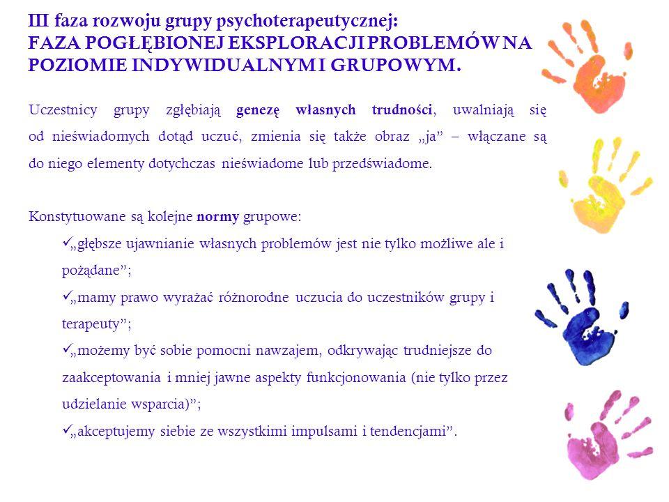 III faza rozwoju grupy psychoterapeutycznej: FAZA POG ŁĘ BIONEJ EKSPLORACJI PROBLEMÓW NA POZIOMIE INDYWIDUALNYM I GRUPOWYM. Uczestnicy grupy zg łę bia