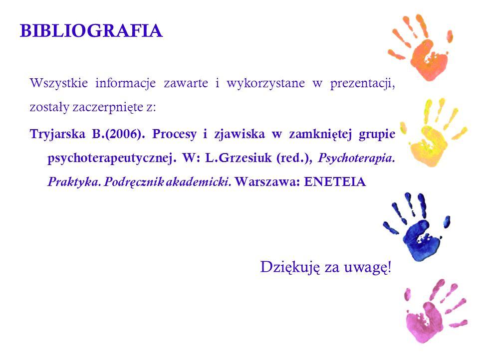 BIBLIOGRAFIA Wszystkie informacje zawarte i wykorzystane w prezentacji, zosta ł y zaczerpni ę te z: Tryjarska B.(2006). Procesy i zjawiska w zamkni ę