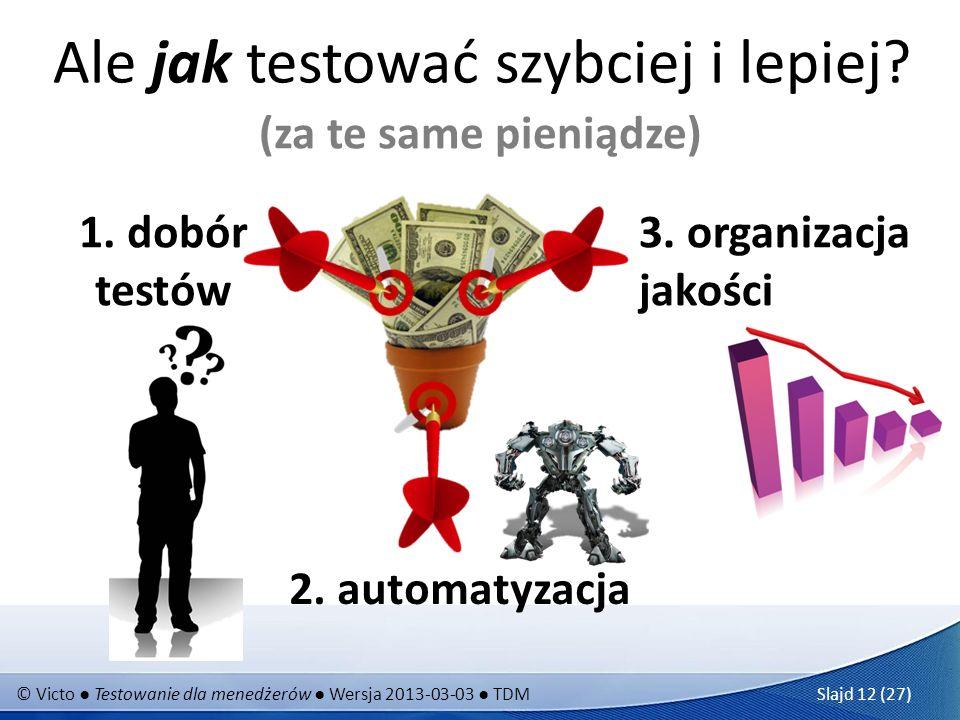 © Victo Testowanie dla menedżerów Wersja 2013-03-03 TDM Slajd 12 (27) Ale jak testować szybciej i lepiej? (za te same pieniądze) 2. automatyzacja 1. d