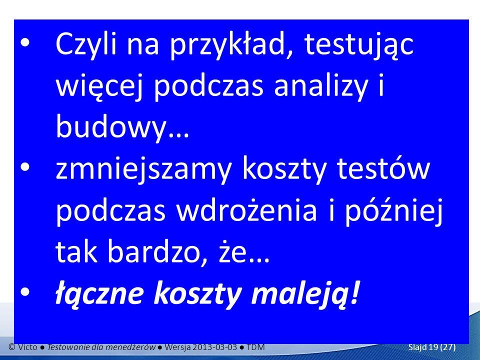 © Victo Testowanie dla menedżerów Wersja 2013-03-03 TDM Slajd 19 (27) Koszty usuwania błędów w danej fazie projektu: Testowanie może być za darmo! wdr