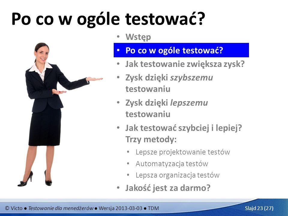 © Victo Testowanie dla menedżerów Wersja 2013-03-03 TDM Slajd 23 (27) Po co w ogóle testować? Wstęp Jak testowanie zwiększa zysk? Zysk dzięki szybszem