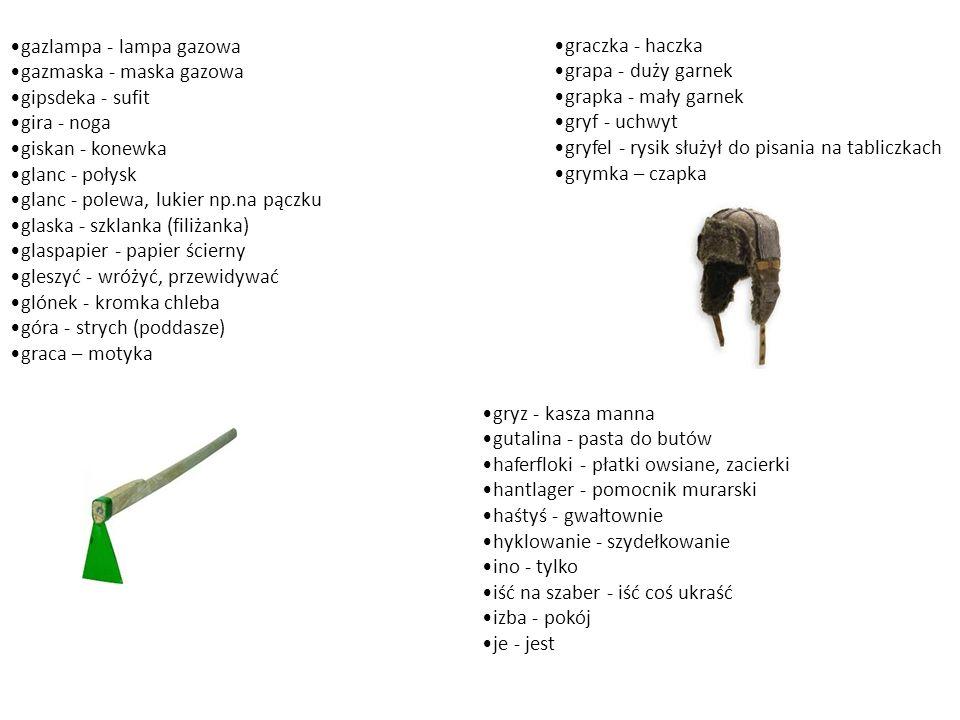 gazlampa - lampa gazowa gazmaska - maska gazowa gipsdeka - sufit gira - noga giskan - konewka glanc - połysk glanc - polewa, lukier np.na pączku glask