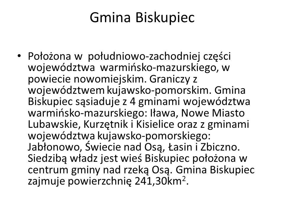 Gmina Biskupiec Położona w południowo-zachodniej części województwa warmińsko-mazurskiego, w powiecie nowomiejskim. Graniczy z województwem kujawsko-p