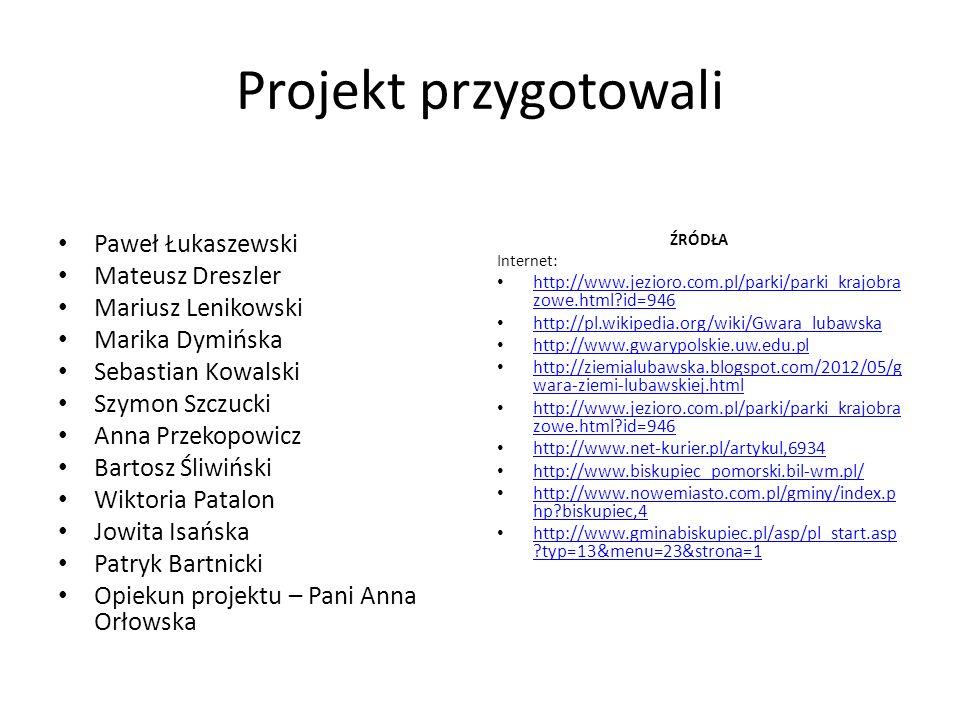 Projekt przygotowali Paweł Łukaszewski Mateusz Dreszler Mariusz Lenikowski Marika Dymińska Sebastian Kowalski Szymon Szczucki Anna Przekopowicz Bartos