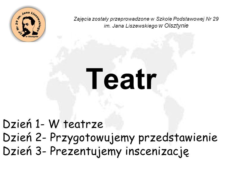 Teatr Dzień 1- W teatrze Dzień 2- Przygotowujemy przedstawienie Dzień 3- Prezentujemy inscenizację Zajęcia zostały przeprowadzone w Szkole Podstawowej