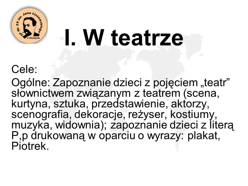 I. W teatrze Cele: Ogólne: Zapoznanie dzieci z pojęciem teatr słownictwem związanym z teatrem (scena, kurtyna, sztuka, przedstawienie, aktorzy, scenog