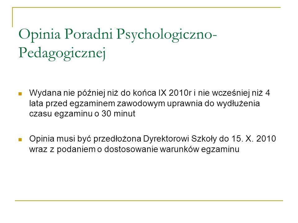 Opinia Poradni Psychologiczno- Pedagogicznej Wydana nie później niż do końca IX 2010r i nie wcześniej niż 4 lata przed egzaminem zawodowym uprawnia do