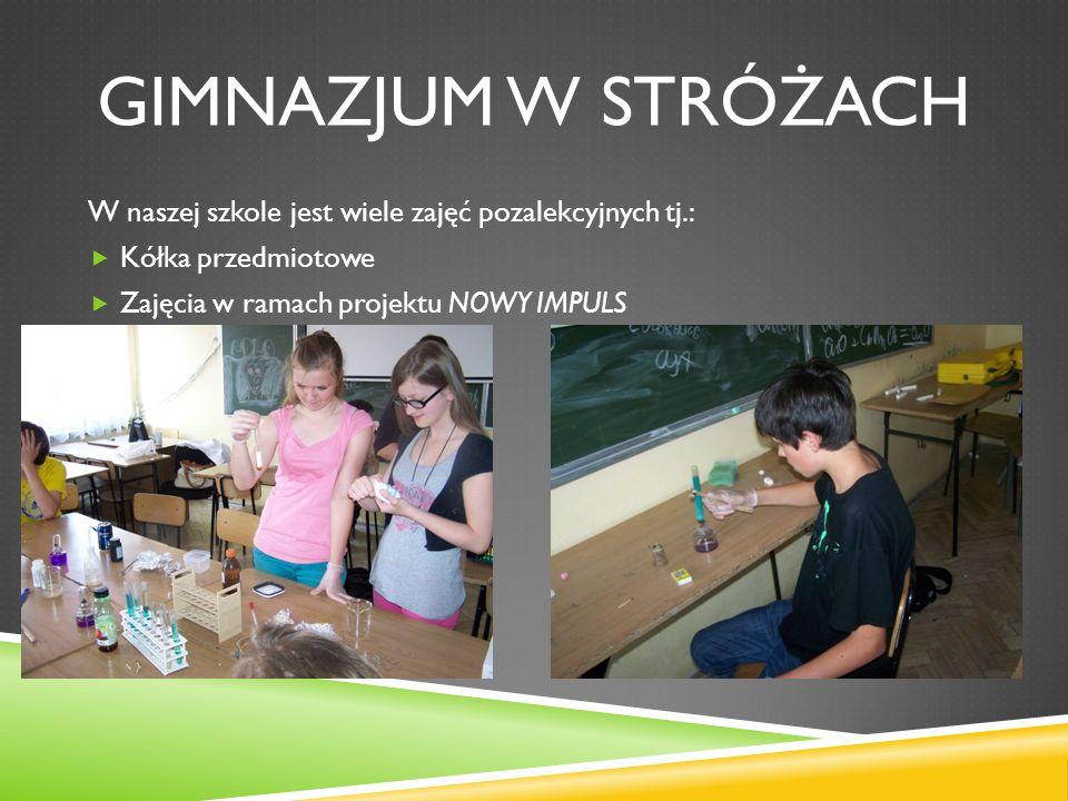 GIMNAZJUM W STRÓŻACH W naszej szkole jest wiele zajęć pozalekcyjnych tj.: Kółka przedmiotowe Zajęcia w ramach projektu NOWY IMPULS