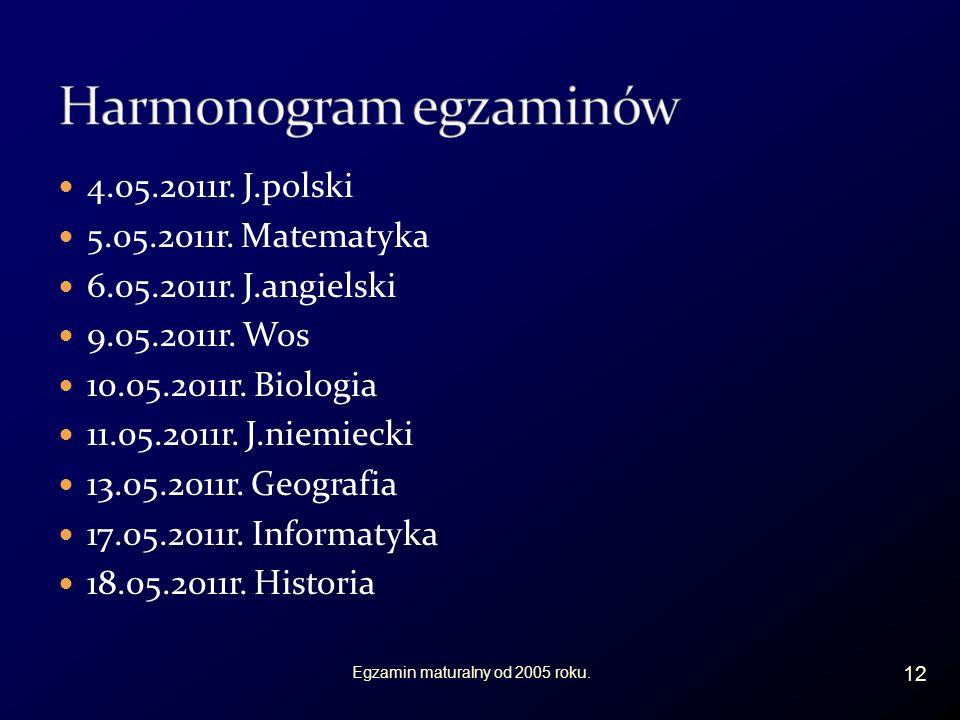 4.05.2011r. J.polski 5.05.2011r. Matematyka 6.05.2011r.