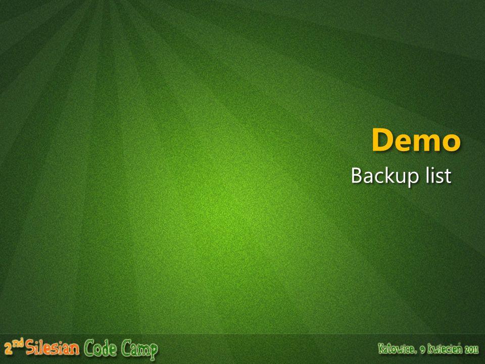 Demo Backup list
