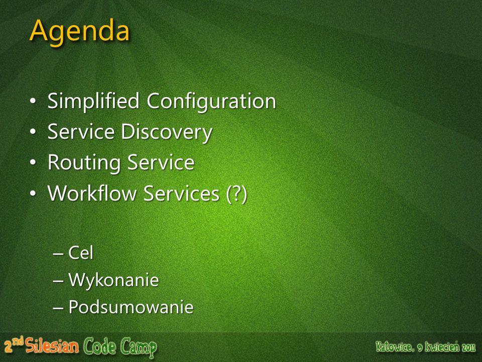 AgendaAgenda Simplified Configuration Simplified Configuration Service Discovery Service Discovery Routing Service Routing Service Workflow Services (
