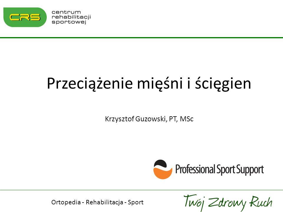 Przeciążenie mięśni i ścięgien Krzysztof Guzowski, PT, MSc Ortopedia - Rehabilitacja - Sport
