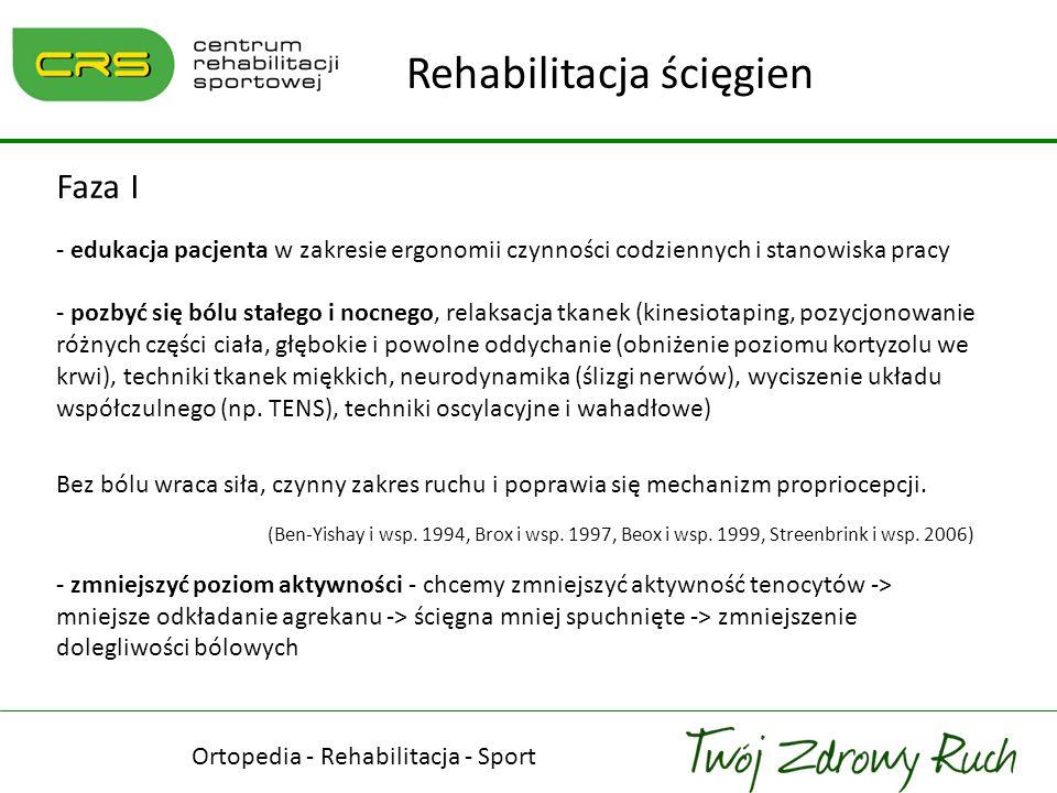 Faza I - edukacja pacjenta w zakresie ergonomii czynności codziennych i stanowiska pracy - pozbyć się bólu stałego i nocnego, relaksacja tkanek (kines