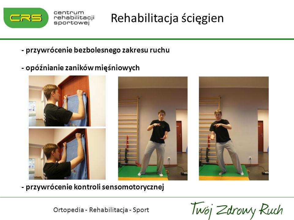 Ortopedia - Rehabilitacja - Sport Rehabilitacja ścięgien - przywrócenie bezbolesnego zakresu ruchu - opóźnianie zaników mięśniowych - przywrócenie kon