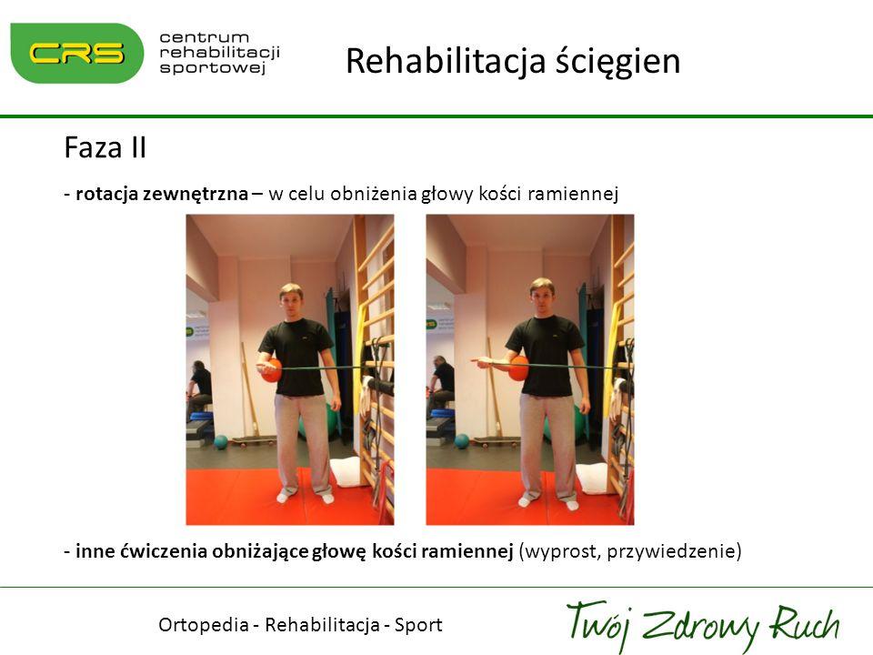 Ortopedia - Rehabilitacja - Sport Rehabilitacja ścięgien Faza II - rotacja zewnętrzna – w celu obniżenia głowy kości ramiennej - inne ćwiczenia obniża