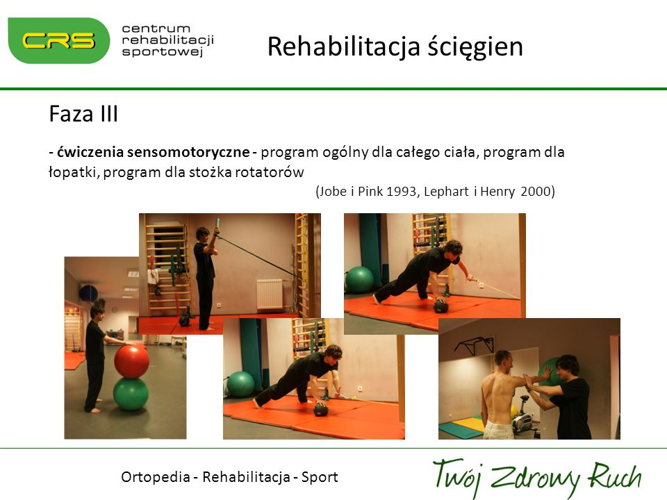 Ortopedia - Rehabilitacja - Sport Rehabilitacja ścięgien Faza III - ćwiczenia sensomotoryczne - program ogólny dla całego ciała, program dla łopatki,