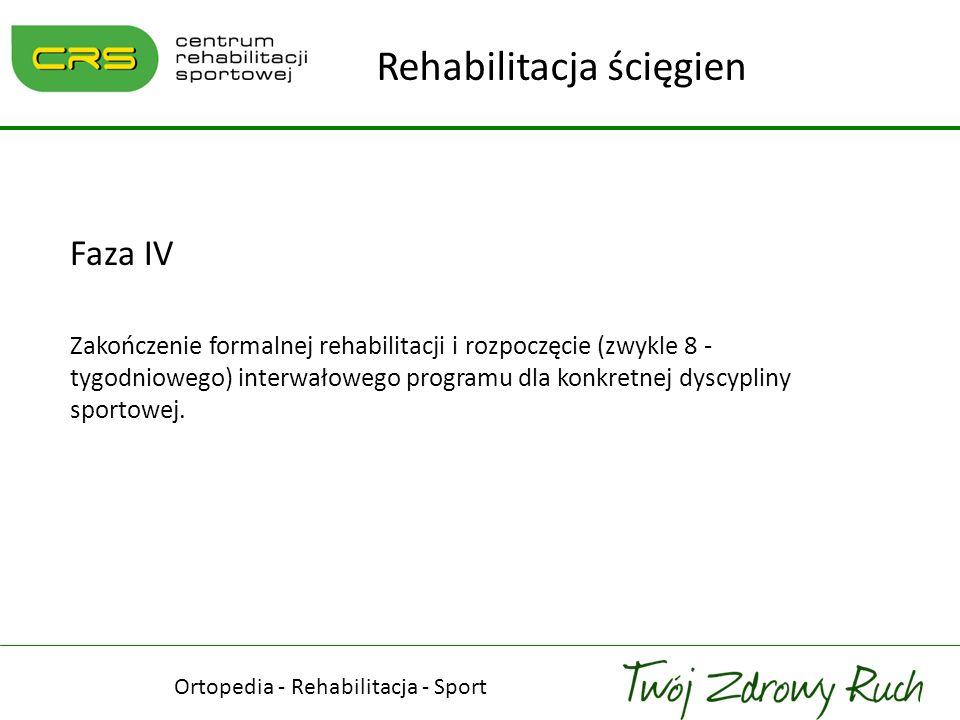 Ortopedia - Rehabilitacja - Sport Rehabilitacja ścięgien Faza IV Zakończenie formalnej rehabilitacji i rozpoczęcie (zwykle 8 - tygodniowego) interwało