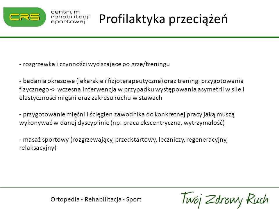 - rozgrzewka i czynności wyciszające po grze/treningu - badania okresowe (lekarskie i fizjoterapeutyczne) oraz treningi przygotowania fizycznego -> wc