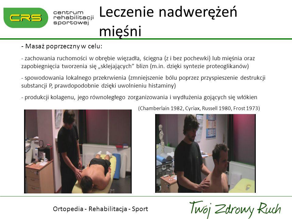 - Masaż poprzeczny w celu: - zachowania ruchomości w obrębie więzadła, ścięgna (z i bez pochewki) lub mięśnia oraz zapobiegnięcia tworzenia się skleja