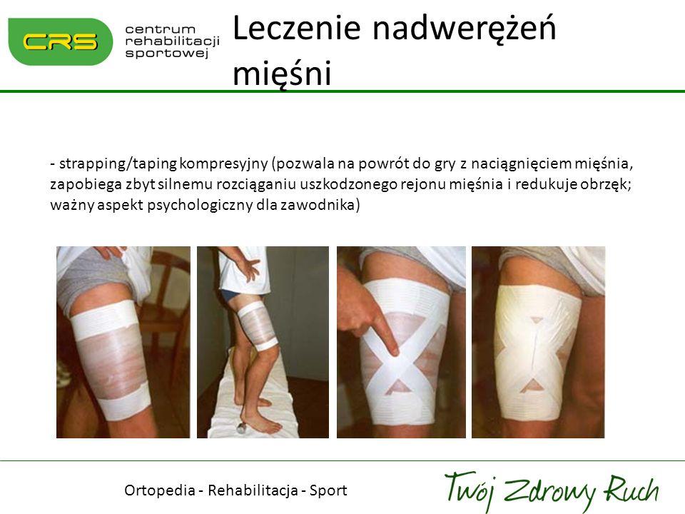 - strapping/taping kompresyjny (pozwala na powrót do gry z naciągnięciem mięśnia, zapobiega zbyt silnemu rozciąganiu uszkodzonego rejonu mięśnia i red