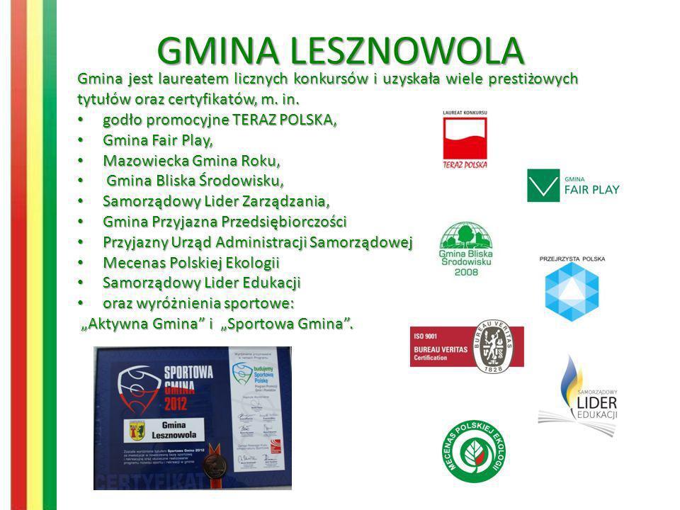 GMINALESZNOWOLA GMINA LESZNOWOLA Gmina jest laureatem licznych konkursów i uzyskała wiele prestiżowych tytułów oraz certyfikatów, m. in. godło promocy