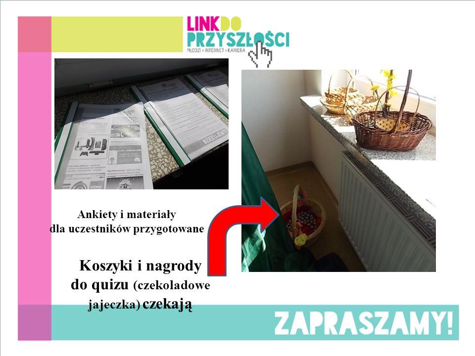 Ankiety i materiały dla uczestników przygotowane Koszyki i nagrody do quizu (czekoladowe jajeczka) czekają